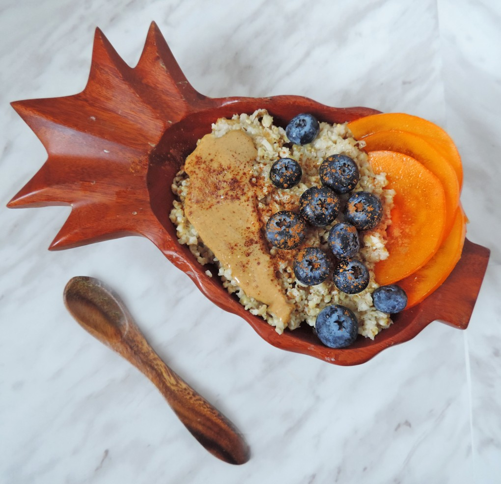 steel cut oats w bloobs and persimmons 2