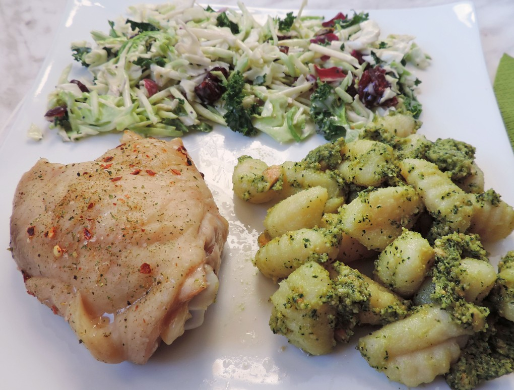 basil cashew pesto gnocchi and chicken thighs