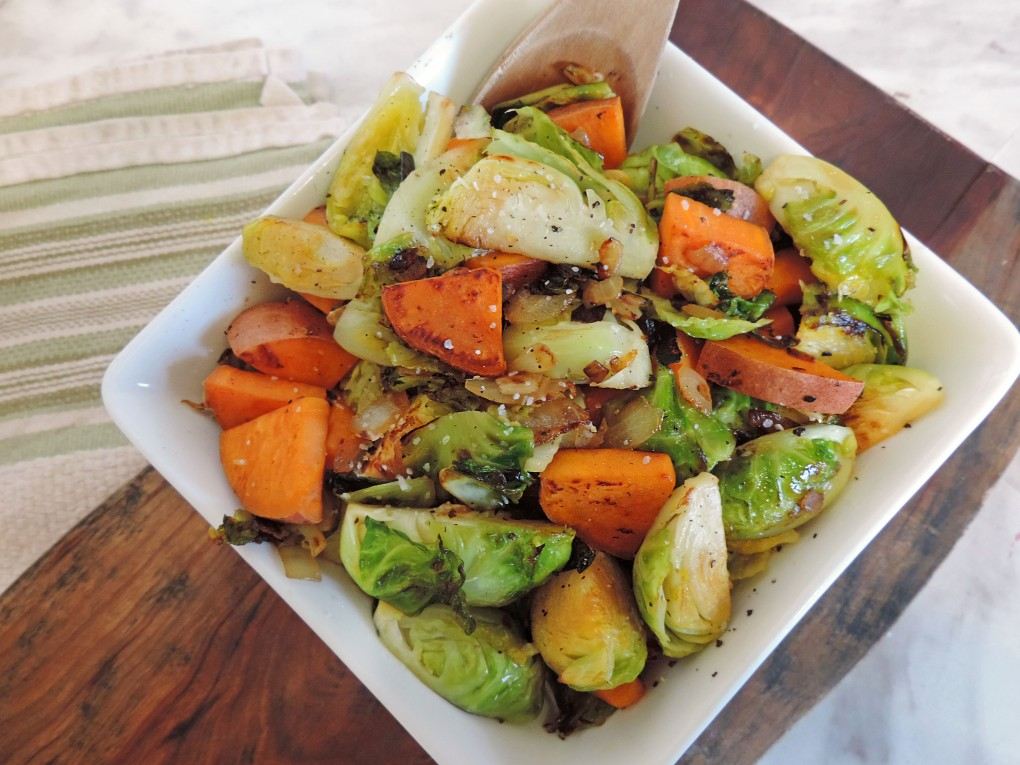 sweet potato brussels sprouts skillet