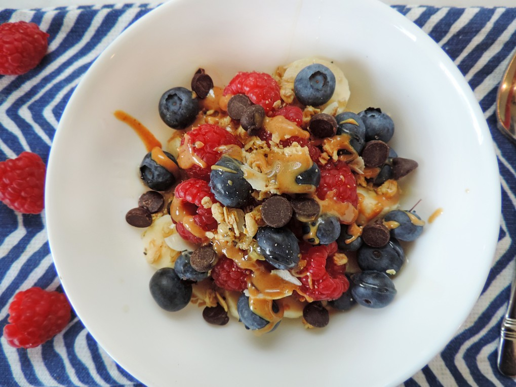 red white and blueberries bowl