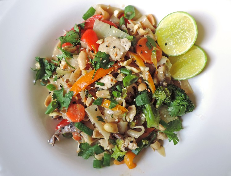 veggie packed peanut chicken noodle stir fry